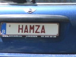 Hamza licence plate