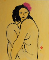 Yellow Nude with Pink Flower