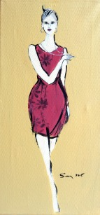Lady in Cerise Cocktail Dress