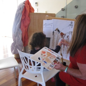 April's first art lesson with Sue