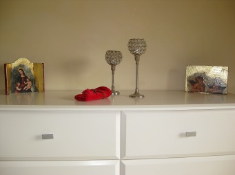 Sold! Two of Sue's triptychs in their new home in New Zealand