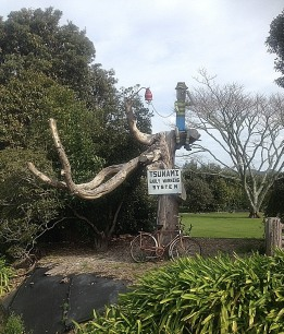 "Tsunami ""Early Warning System"", Opotiki, Bay of Plenty, NZ. Love the bicycle!"