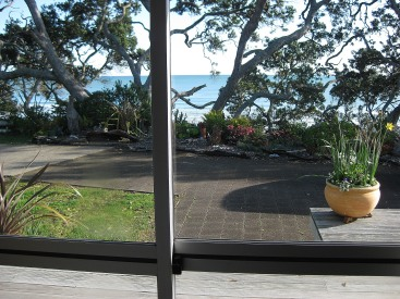 View from our bedroom at our friend Gill's house, Bryans Beach Ohiwa, Bay of Plenty, NZ