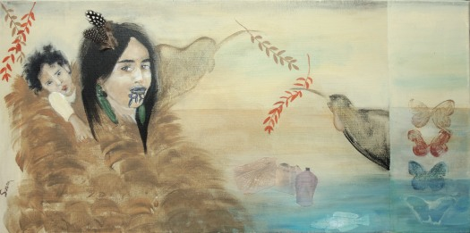 Maori woman with child in a kahu kiwi cloak