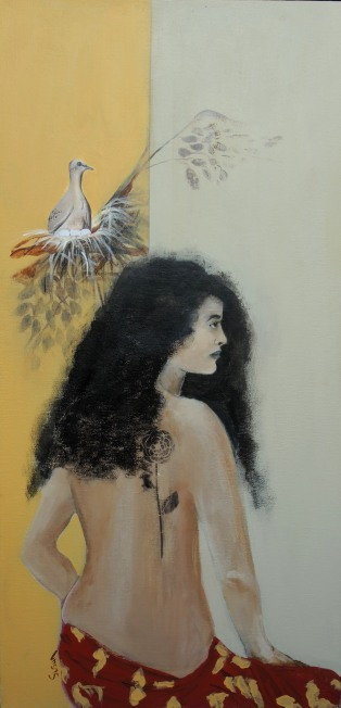 Polynesian Woman with dove & eggs on nest
